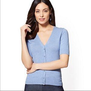 NY&CO V-neck Chelsea Short-sleeve Cardigan